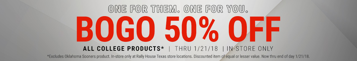 Buy one college team item, get another for 50% off!
