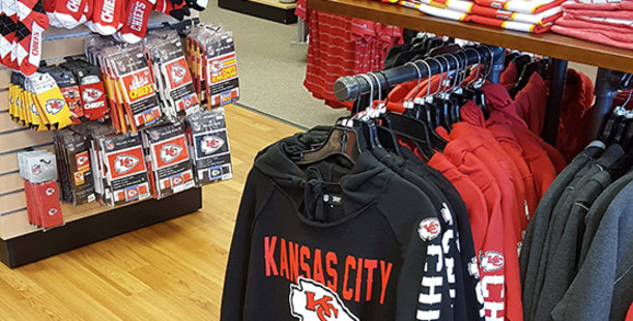 Chiefs store section in Rally House Wichita West