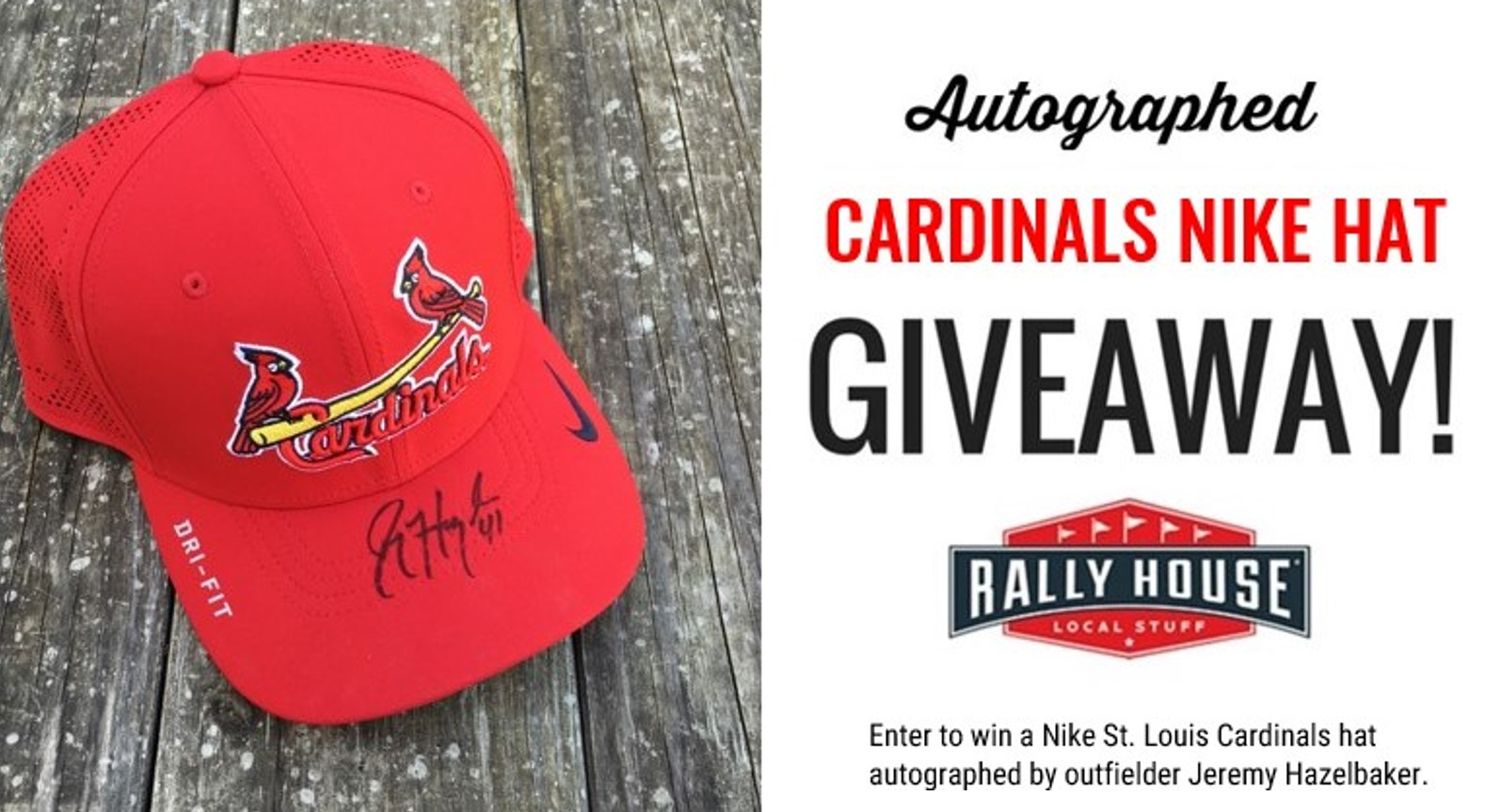 Win a St. Louis Cardinals Nike hat autographed by Jeremy Hazelbaker!