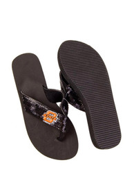Oklahoma State Cowboys Womens Black Sequin Flip Flops - Navy Blue