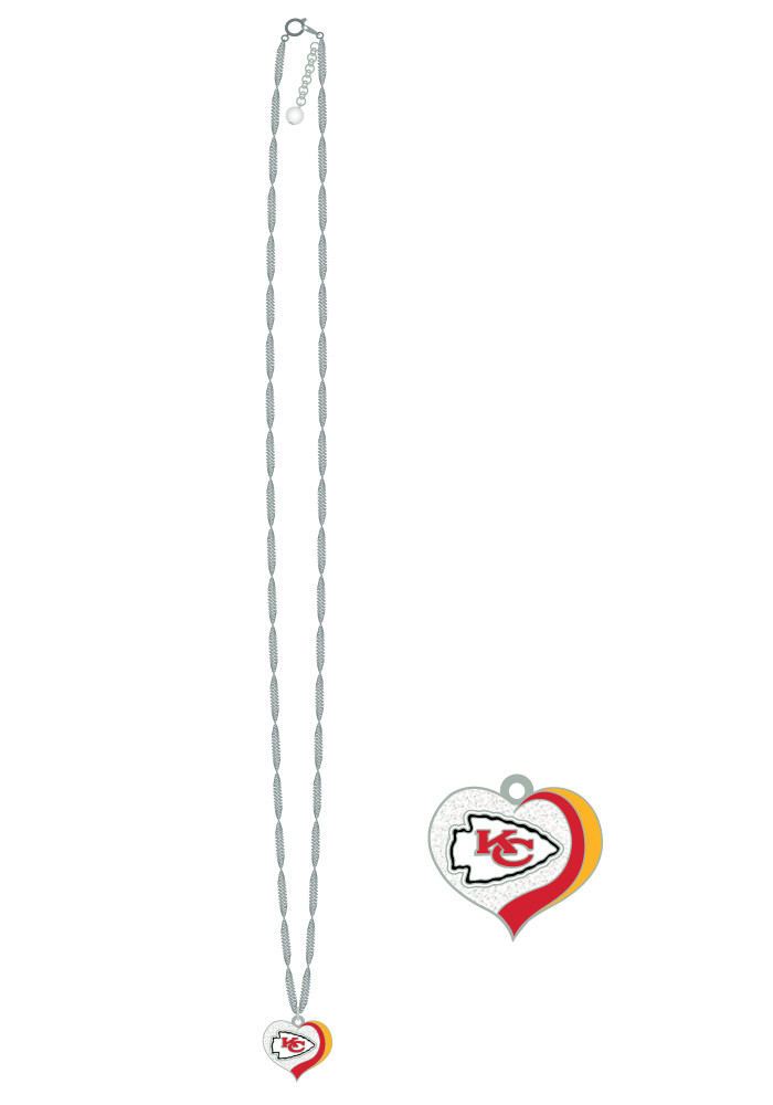 Kansas City Chiefs Glitter Heart Necklace - Image 1