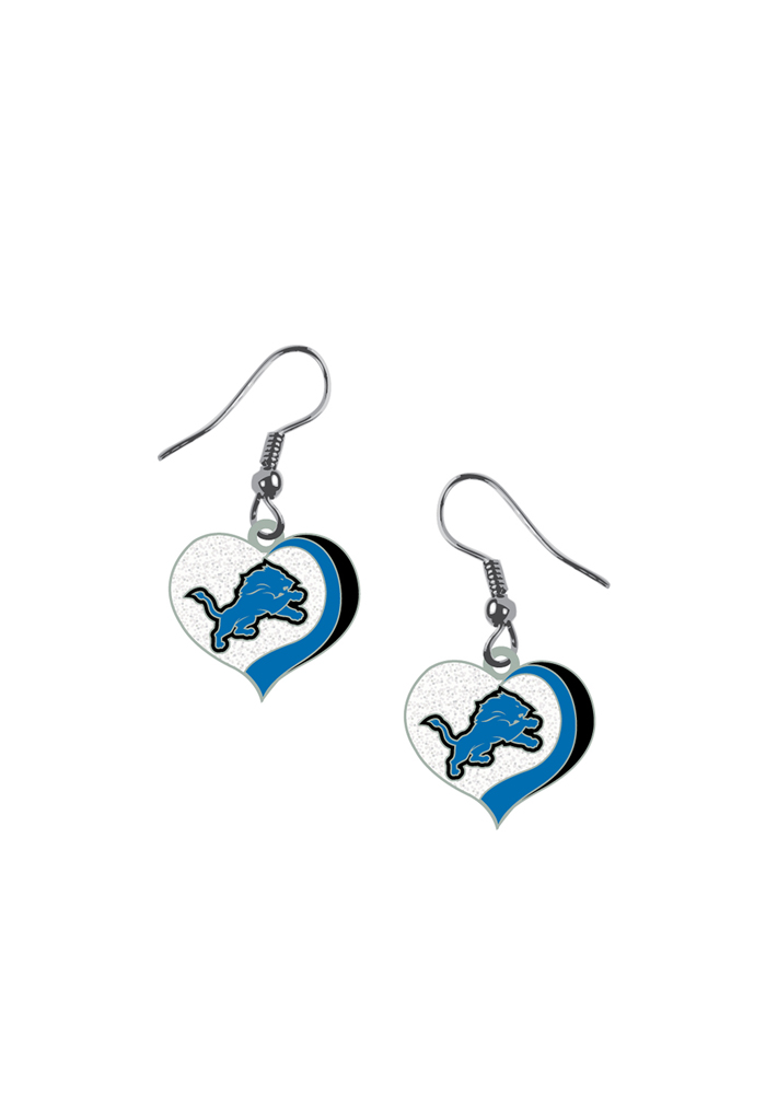 Detroit Lions Glitter Heart Womens Earrings - Image 1