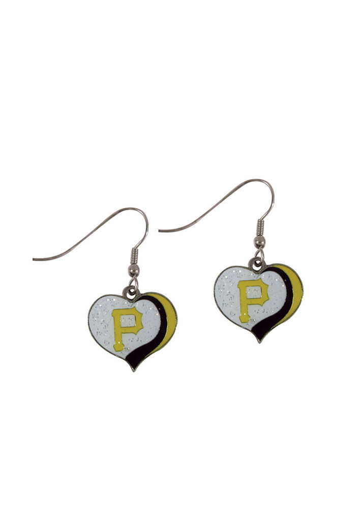 Pittsburgh Pirates Glitter Heart Womens Earrings - Image 1