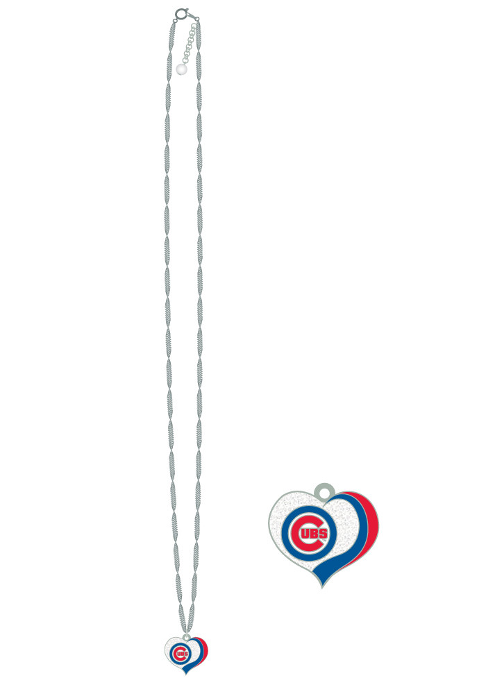 Chicago Cubs Glitter Heart Necklace - Image 1
