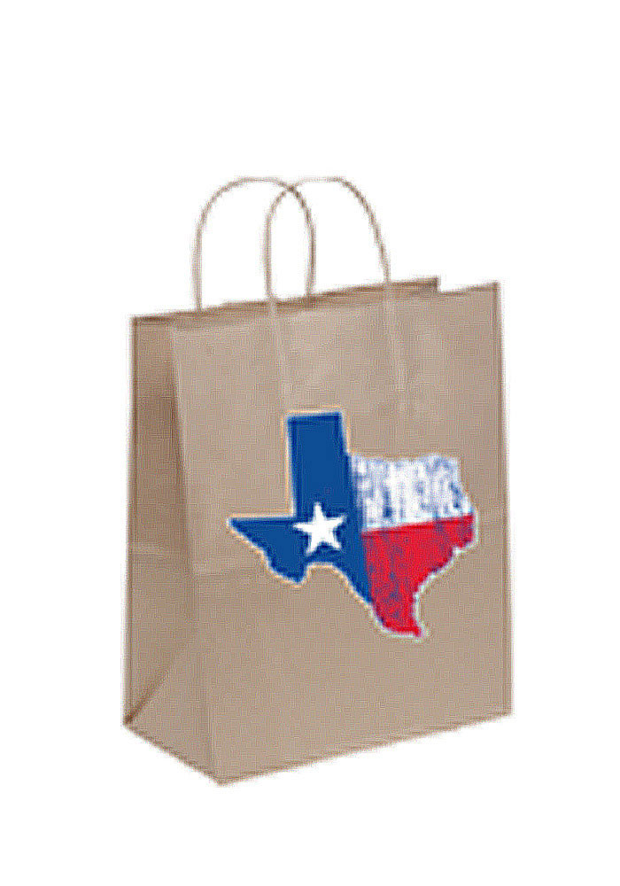 Texas State of Texas Flag 10x13 Brown Eco Brown Gift Bag - Image 1