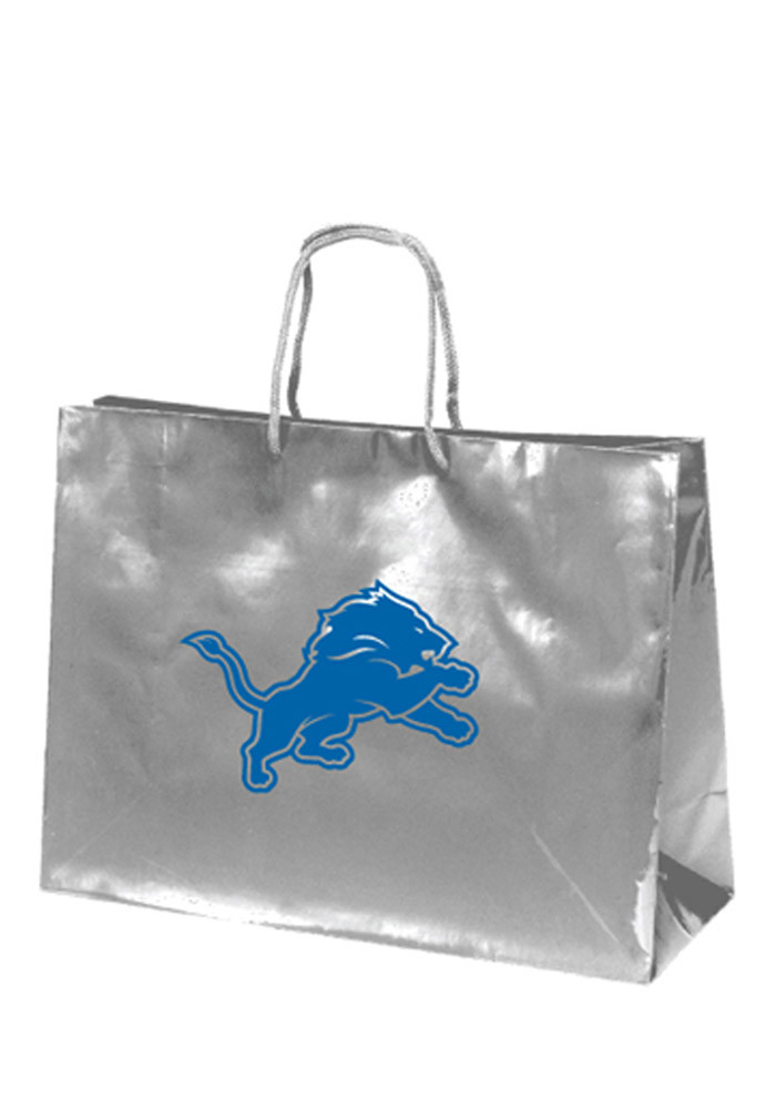 Detroit Lions 16x12 Silver Large Metallic Grey Gift Bag - Image 1