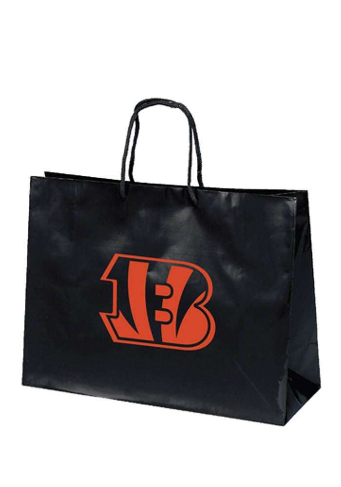 Cincinnati Bengals 16x12 Black Large Metallic Black Gift Bag - Image 1