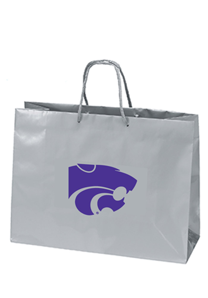 K-State Wildcats 16x12 SIlver Large Metallic Grey Gift Bag - Image 1