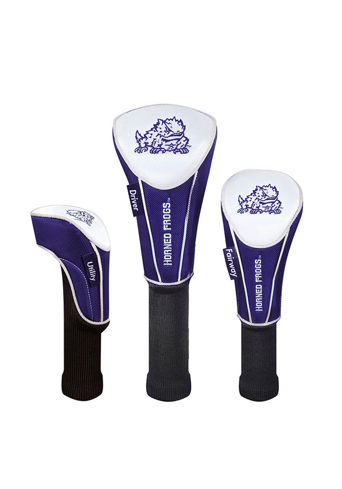 TCU Horned Frogs 3 Pack Nylon Golf Headcover - Image 1