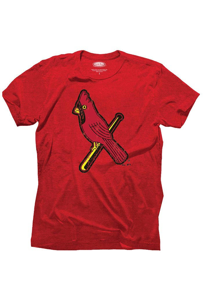 St Louis Cardinals Red Retro Bird Triblend Short Sleeve Fashion T Shirt - Image 1