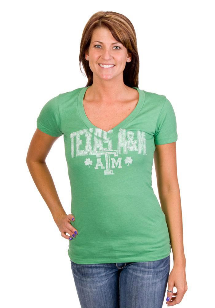 Texas A&M Aggies Juniors Green Good Karma V-Neck T-Shirt - Image 1