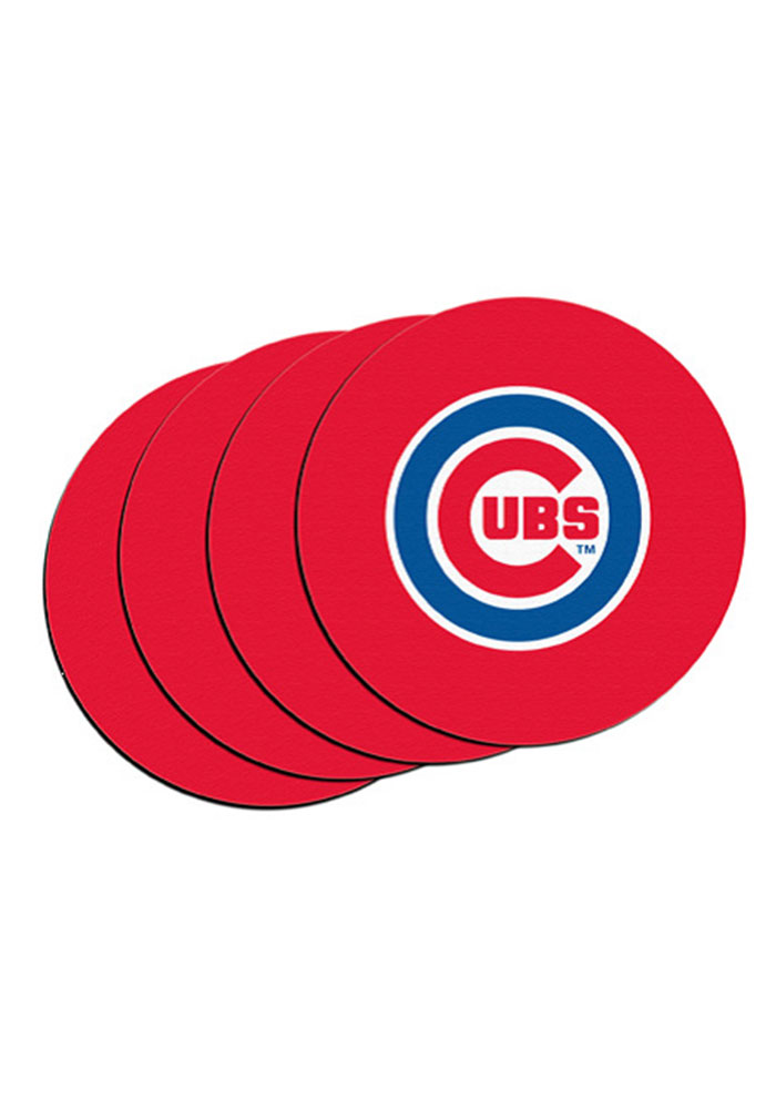 Chicago Cubs 4 Pack Car Coaster - Red - Image 1