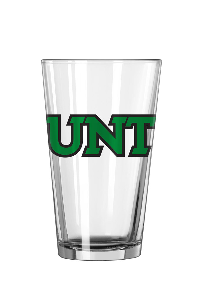 North Texas Mean Green Word Logo Pint Glass - Image 1