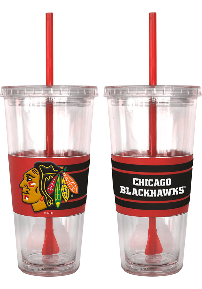 Chicago Blackhawks 22oz 3D Hype Straw Tumbler - Image 1