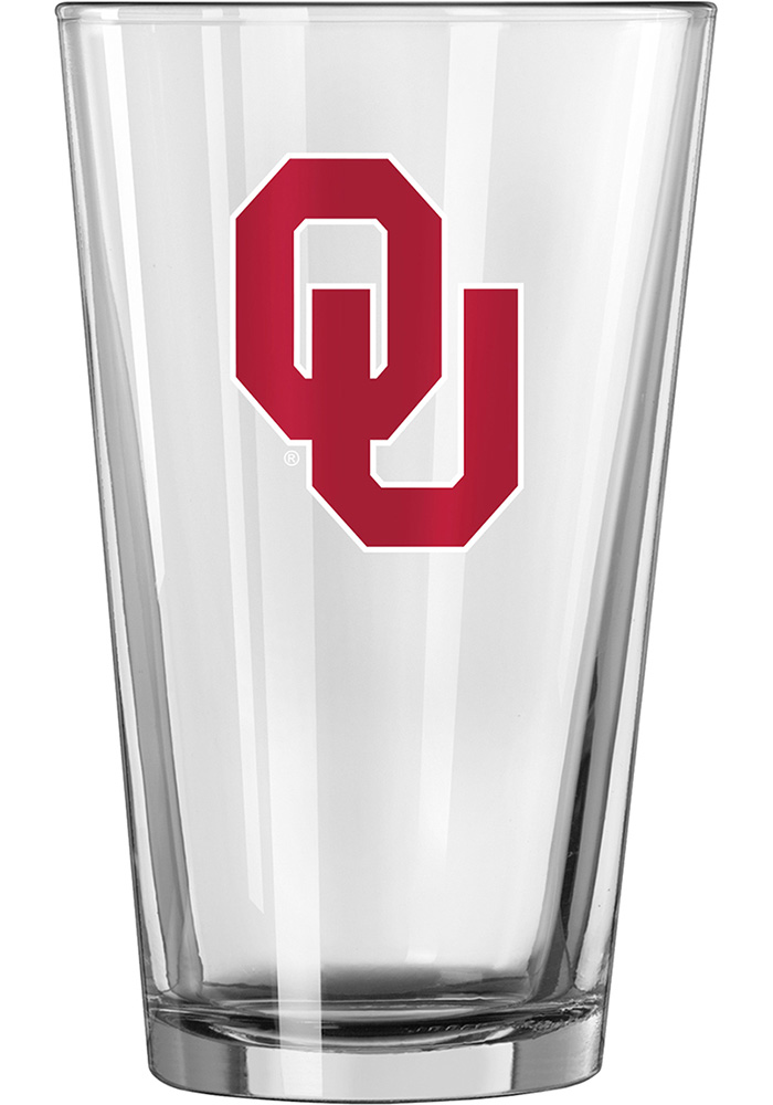 Oklahoma Sooners Interlocking OU Logo Pint Glass - Image 1