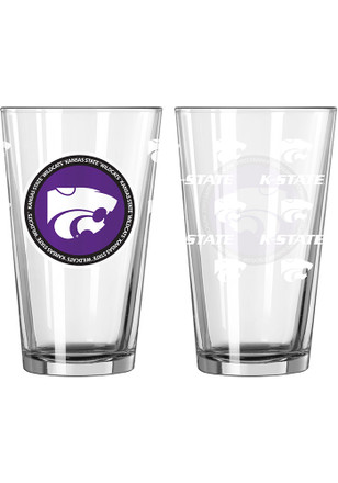 K-State Wildcats 16 oz Clear Pint Glass