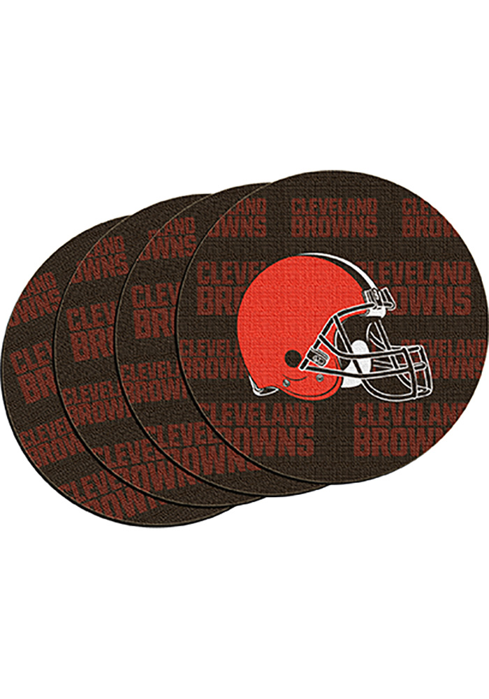 Cleveland Browns 4 Pk Car Coaster - Brown - Image 1