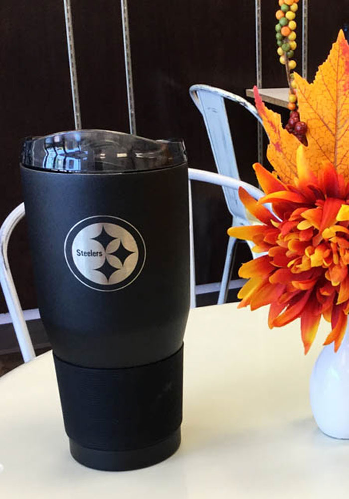 Pittsburgh Steelers Powder Coated 30oz Ultra Black Stainless Steel Tumbler - Image 2