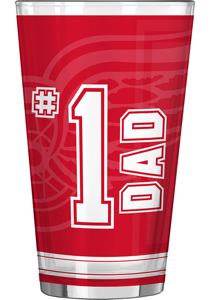 Detroit Red Wings 16oz #1 Dad Pint Glass - Image 1