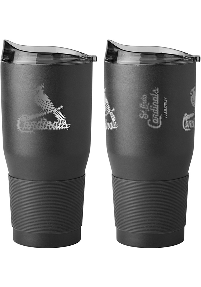 St Louis Cardinals Powder Coated 30oz Ultra Stainless Steel Tumbler - Black - Image 1