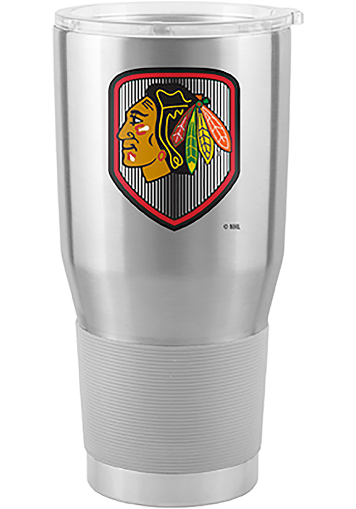 Chicago Blackhawks Shield 30oz Ultra Silver Stainless Steel Tumbler - Image 1