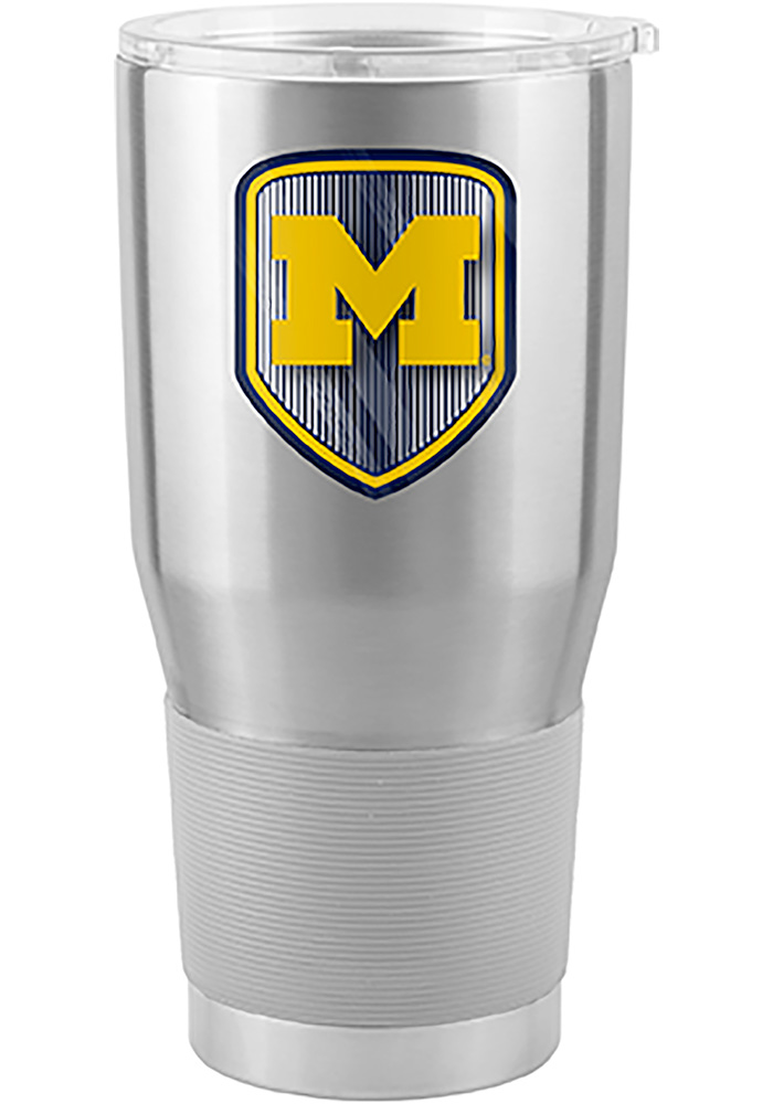 Michigan Wolverines Shield 30oz Ultra Silver Stainless Steel Tumbler - Image 1