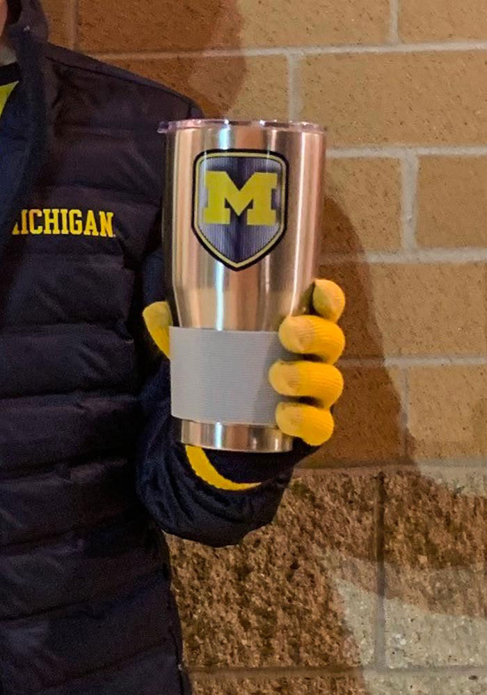 Michigan Wolverines Shield 30oz Ultra Silver Stainless Steel Tumbler - Image 2