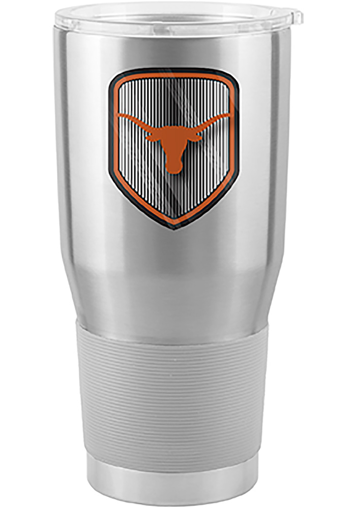 Texas Longhorns Shield 30oz Ultra Silver Stainless Steel Tumbler - Image 1