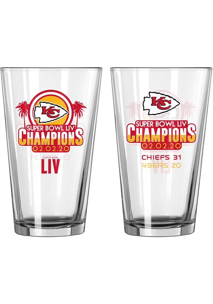 Kansas City Chiefs Super Bowl LIV Champions 16oz Summary Pint Glass - Image 1