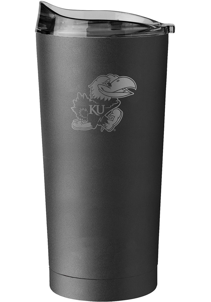 Kansas Jayhawks 20oz Black Powder Coat Stainless Steel Tumbler - Black