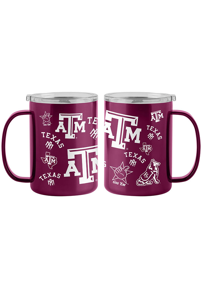 Texas A&M Aggies 15oz Sticker Ultra Mug Stainless Steel Tumbler - Maroon - Image 1