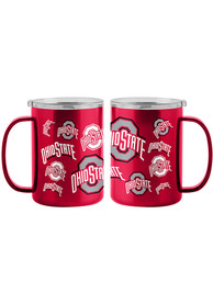 Ohio State Buckeyes 15oz Sticker Ultra Mug Stainless Steel Tumbler - Red