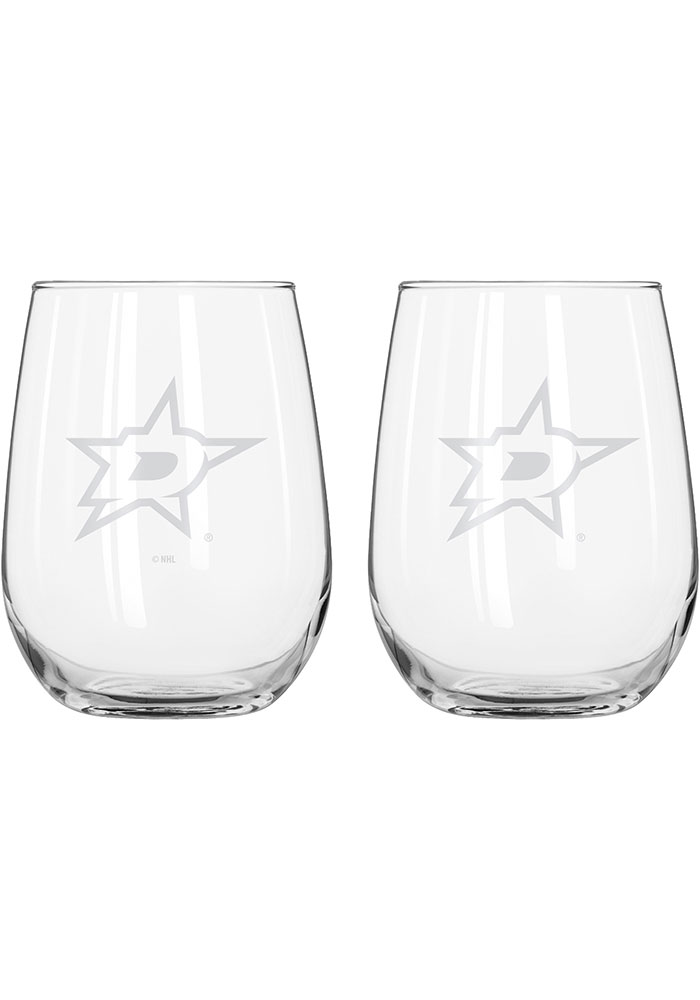 Dallas Stars 16 OZ Frost Curved Stemless Wine Glass - Image 1