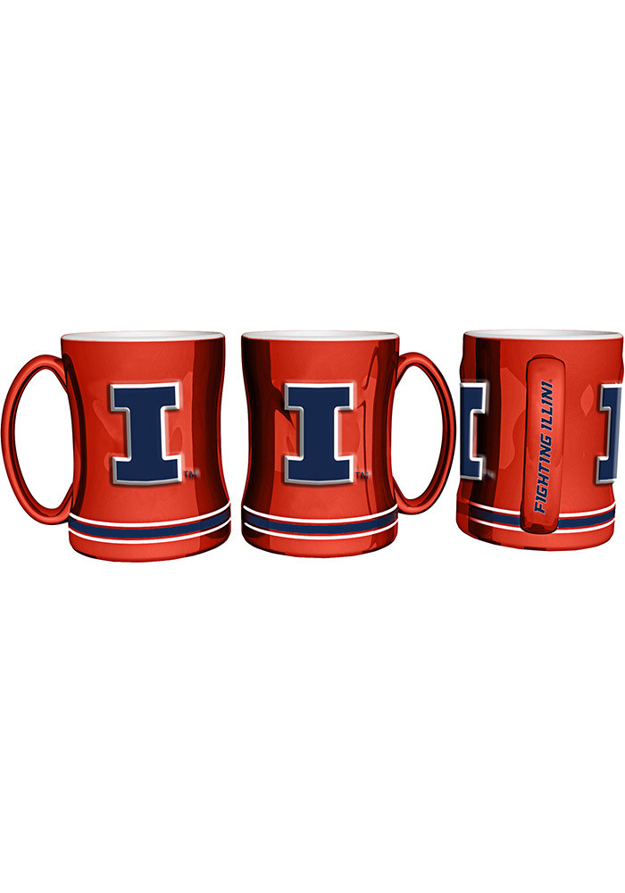 Illinois Fighting Illini 15oz Orange Sculpted Mug Mug - Image 1