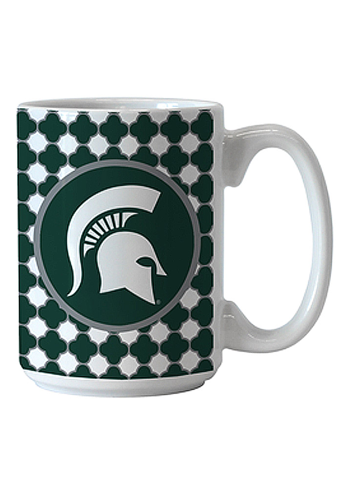 Michigan State Spartans Quatrefoil Ceramic Mug - Image 1