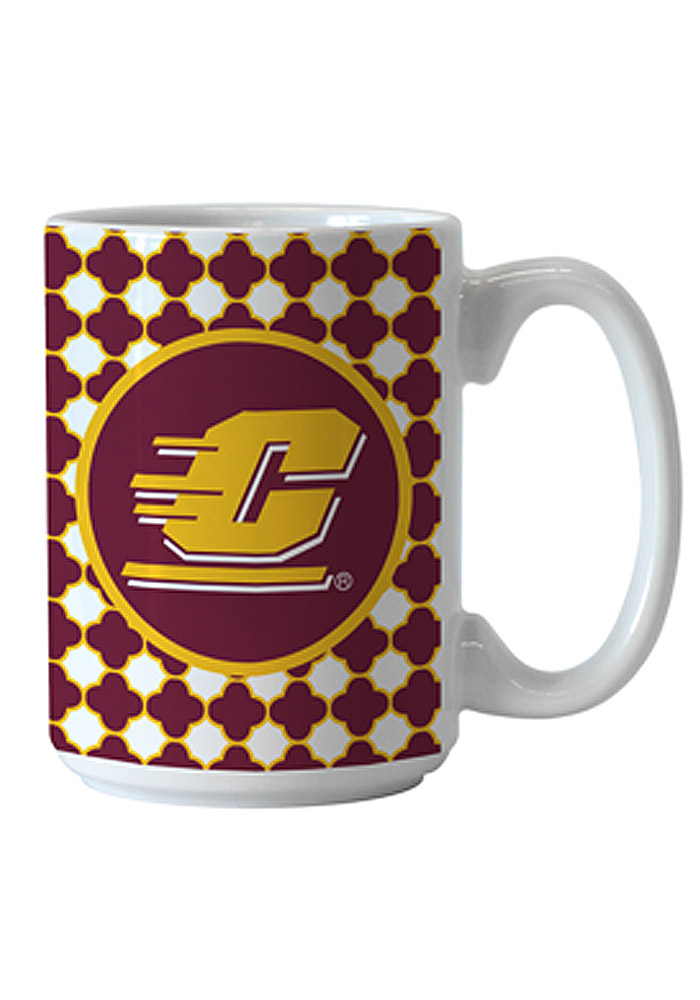 Central Michigan Chippewas Quatrefoil Ceramic Mug - Image 1