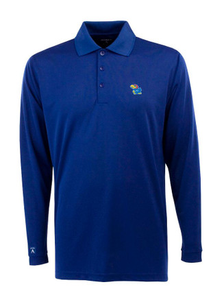 Antigua KU Jayhawks Mens Blue Exceed Polo