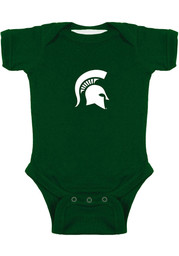 Michigan State Spartans Baby Green Logo Short Sleeve One Piece