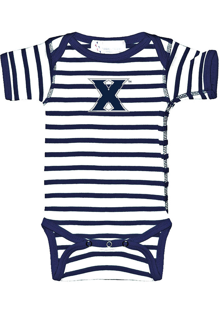 Xavier Musketeers Baby Navy Blue Stripe Short Sleeve Creeper - Image 1