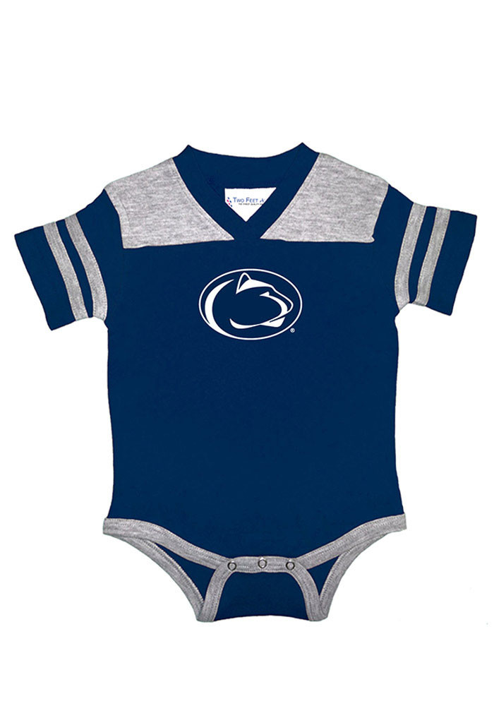Penn State Nittany Lions Baby Navy Blue Football Short Sleeve Creeper - Image 1