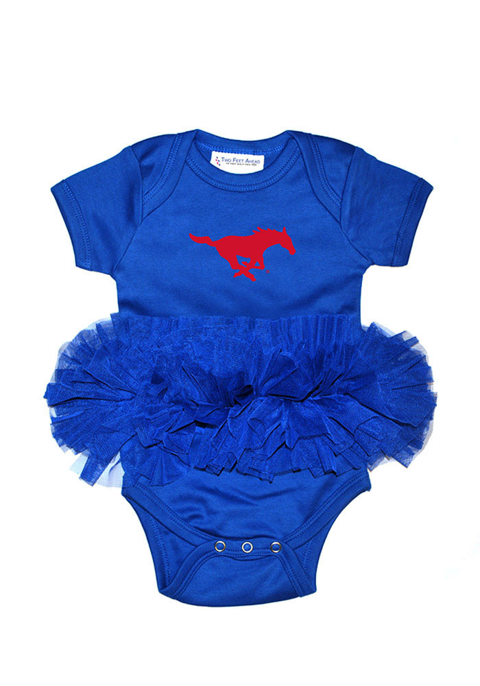 SMU Mustangs Baby Blue Tutu Short Sleeve Creeper - Image 1