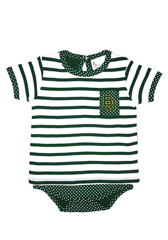 Baylor Bears Baby Green Pin Dot Short Sleeve One Piece - Image 1