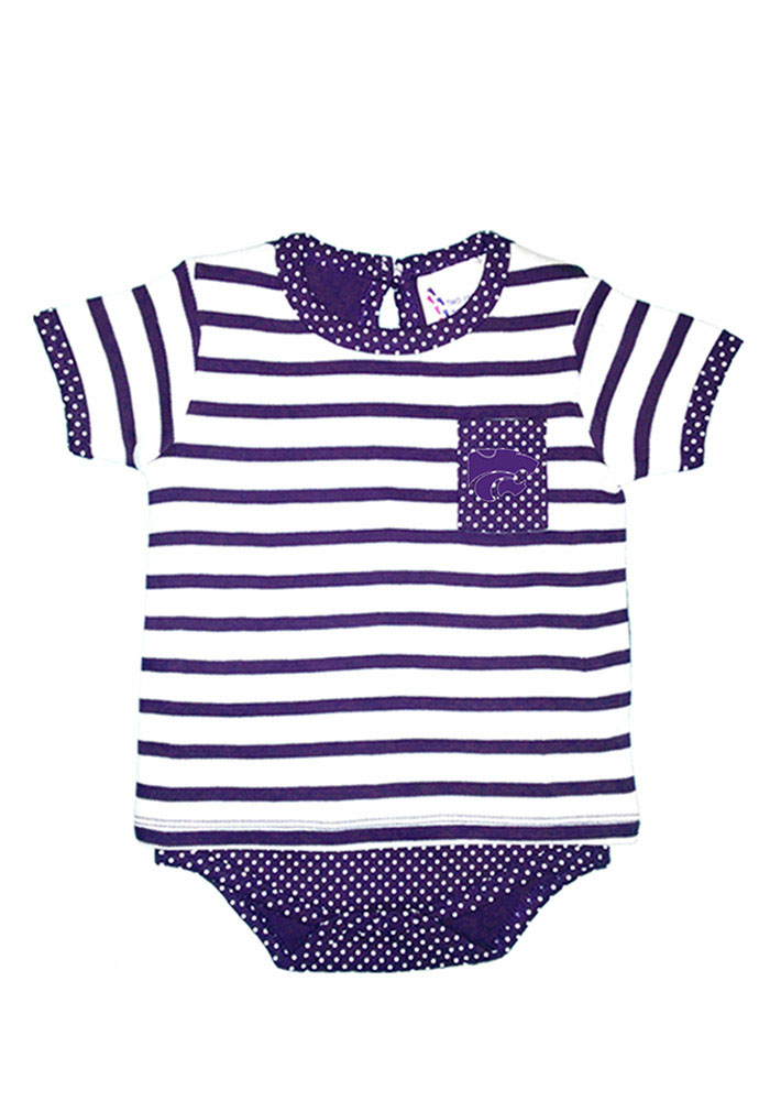 K-State Wildcats Baby Purple Pin Dot Short Sleeve One Piece - Image 1