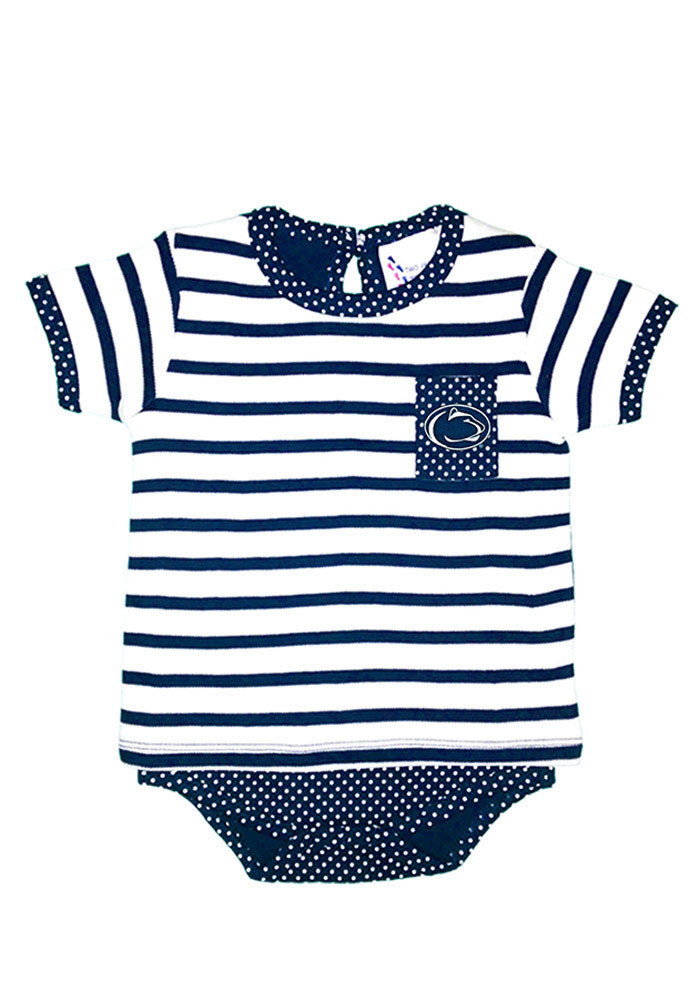 Penn State Nittany Lions Baby Navy Blue Pin Dot Short Sleeve Creeper - Image 1