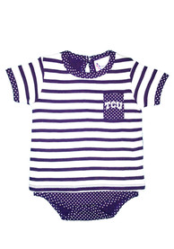 TCU Horned Frogs Baby Purple Pin Dot One Piece