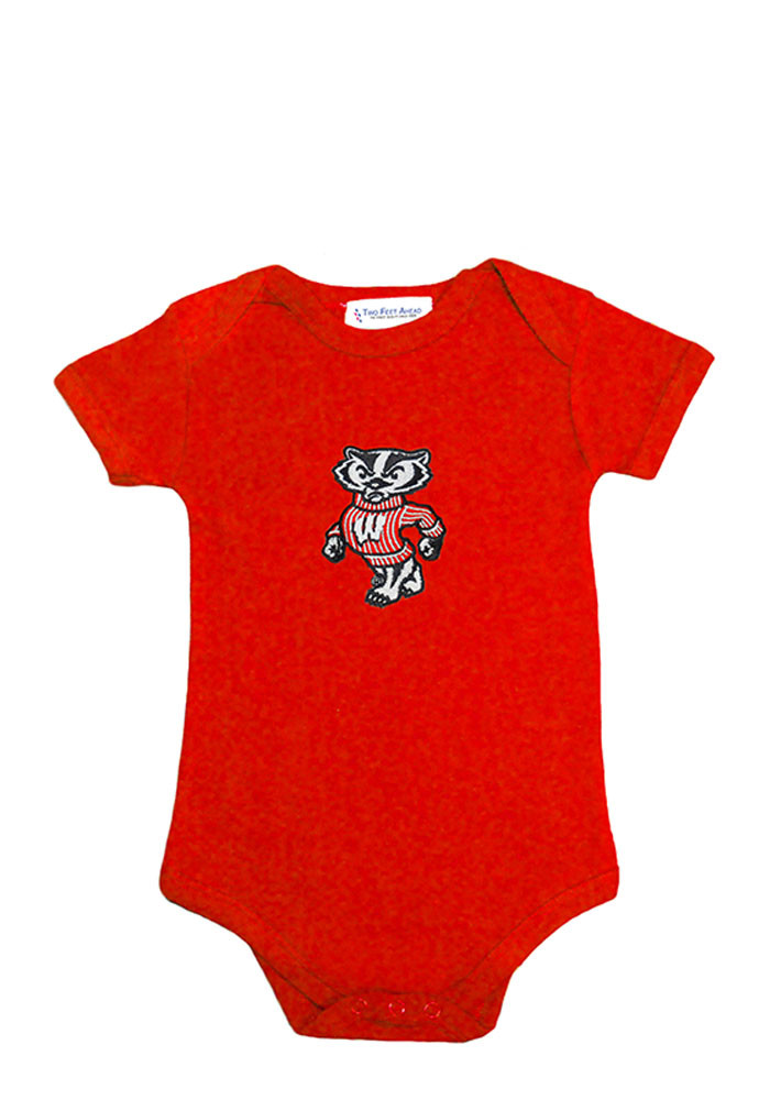 Wisconsin Badgers Baby Red Lap Shoulder Short Sleeve Creeper - Image 1