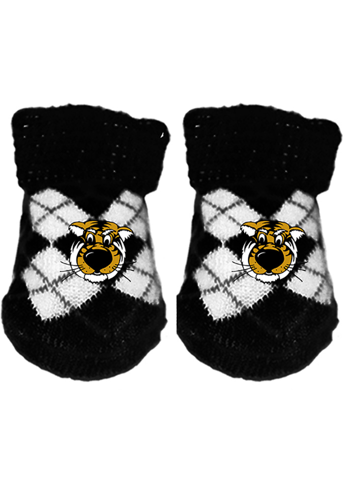 Missouri Tigers Argyle Baby Bootie Boxed Set, Black, Size NEWBORN