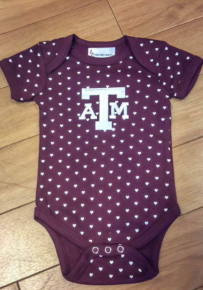 Texas A&M Aggies Baby Maroon Heart Short Sleeve One Piece - Image 2