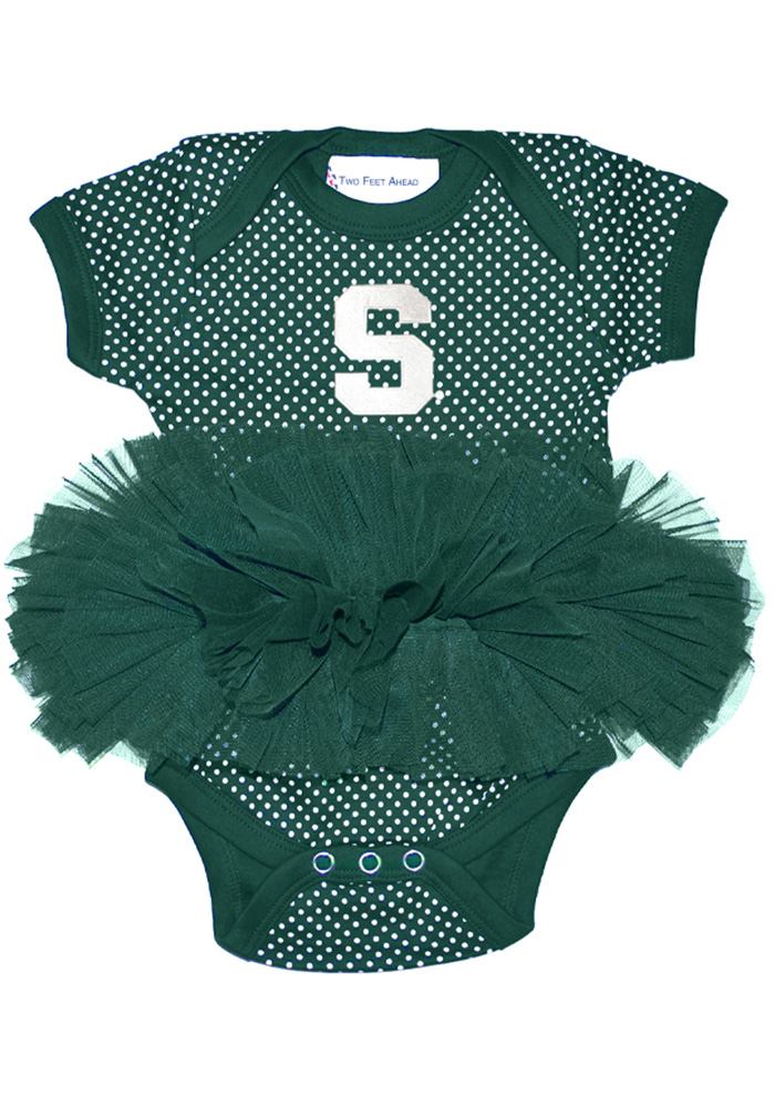 Michigan State Spartans Baby Green Pin Dot Tutu One Piece