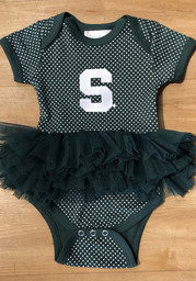 Michigan State Spartans Baby Green Pin Dot Tutu Short Sleeve One Piece